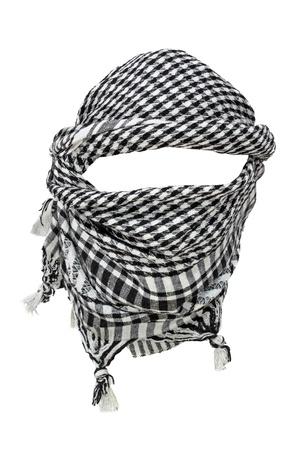 pokrývka hlavy: Keffiyeh - tradiční arabský pokrývky hlavy na bílém pozadí