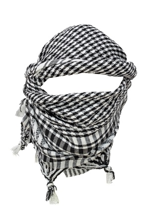 middle east war: Keffiyeh - traditional Arabic headgear isolated on white background