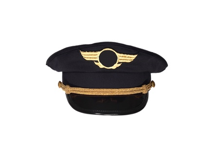 pilot wings: Pilots black cap isolated on white background Editorial