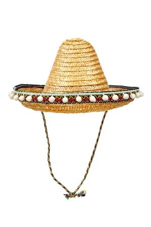 Sombrero - Sombrero de paja tradicional mexicana aislado sobre fondo blanco