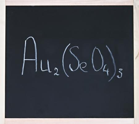 inorganic: Inorganic chemistry formula written in chalk on blackboard