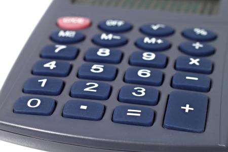 Calculator keypad macro closeup with shallow depth of field