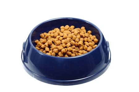 Plastic bowl with dried pet food isolated on white background
