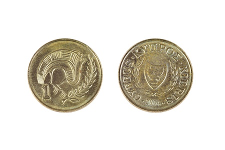 kibris: Old shabby one cent coin from Cyprus  Obsolete 1 100 part of Cyprus pound  Both sides isolated on white background