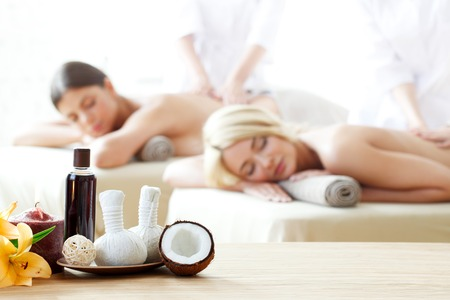 health spa: beautiful women at spa session Stock Photo