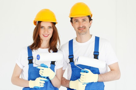 portrait of the team of workmen Stock Photo