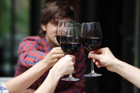 Friends toasting with wine at dinner Stock Photo