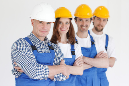 portrait of the team of workmen 写真素材