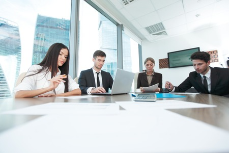 working group: Business people working together at a meeting in modern office Stock Photo
