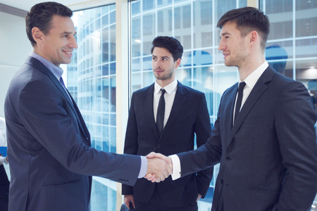 people shaking hands: Business people shaking hands, finishing up a meeting in office