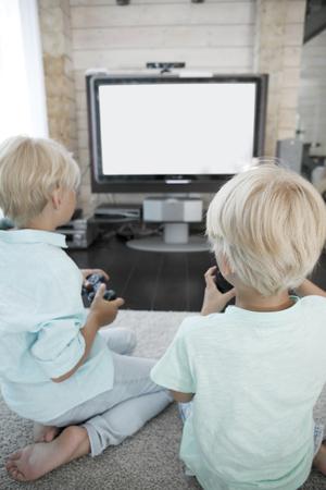 brothers playing: Dos hermanos jugando juegos de video en casa