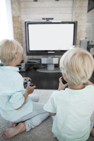kids playing video games: Two brothers playing video games at home