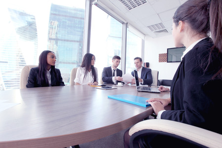 Business people working together at a meeting in modern office Stock Photo