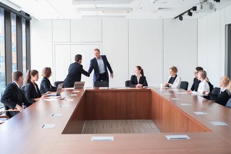 Business people meeting in office , partners shaking hands Standard-Bild - 121683962