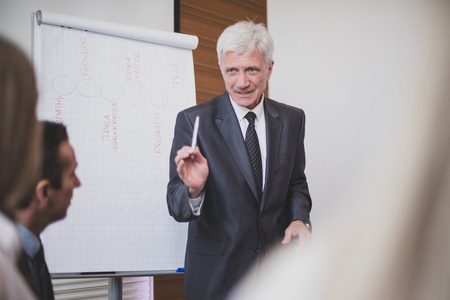 Business man speaking on seminar , whiteboard or flipchart on background