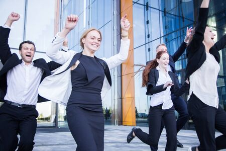 Happy running business people, success, freedon, vacation concept