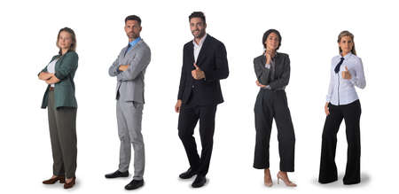 Successful business team. Full length portrait of group of confident business people showing thumbs up and smiling. Design element, studio isolated on white background Stock Photo