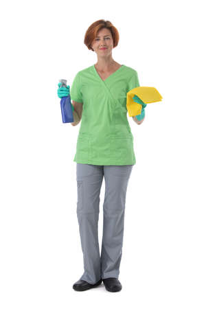 Cleaner woman with spray and rag isolated on white background, full length portrait