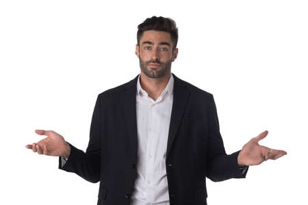 Portrait of confused clueless fruastrated business man shrug hands isolated on white background
