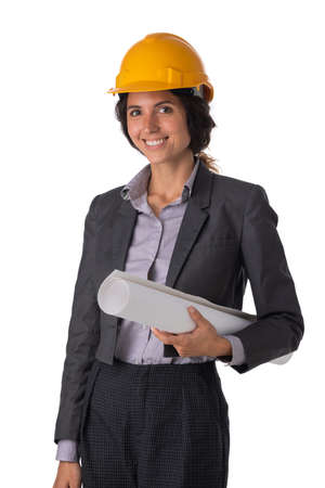 Portrait of female engeneer architect in yellow hardhat and business suit holding blueprint isolated on white background