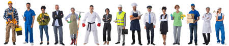 Full length portrait of group of people representing diverse professions of business, medicine, construction industry Imagens
