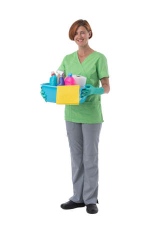 Cleaner woman with detergent spray container isolated on white background, full length portrait