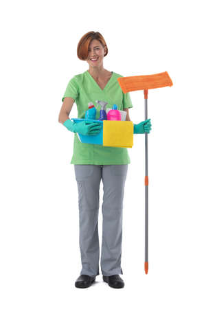 Cleaner woman with mop and detergent spray container isolated on white background, full length portrait