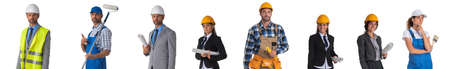 Collection of full length portraits of construction industry workers. Design element, studio isolated on white background Stock Photo