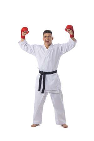 Man fighter training taekwondo isolated on white background