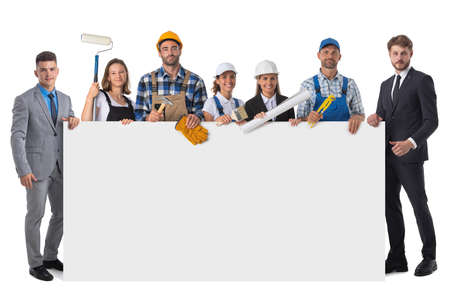 Collection of full length portraits of construction industry workers holding blank banner. Design element, studio isolated on white background Banco de Imagens