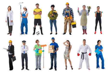 Collage set collection of people with various occupations professionals standing isolated on white background