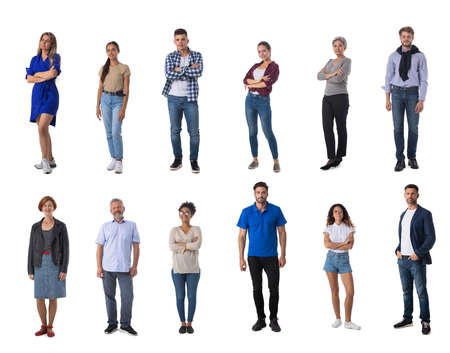 Set of trendy casual people isolated on white background