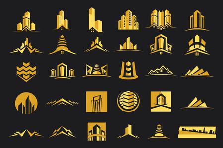 ベクトルのロゴの不動産建設コレクション