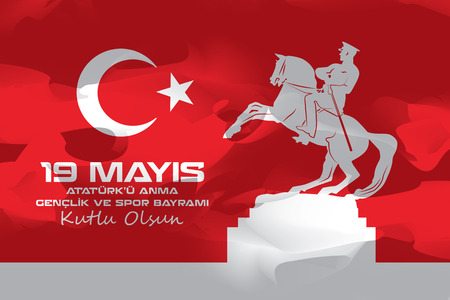commemoration day: May 19 Atatrk Commemoration and Youth and Sports Day Illustration