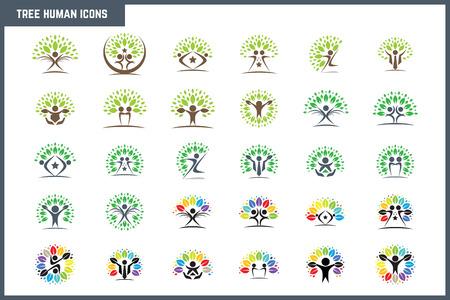 Creativo colorido árbol humano Concepto Icon Set