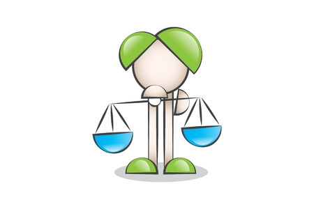 lectern: Justice scales icon and cartoon characters. To decide. Illustration