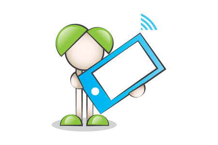 lectern: Big Blue Mobile Phone and Cartoon Characters. Technology Illustration