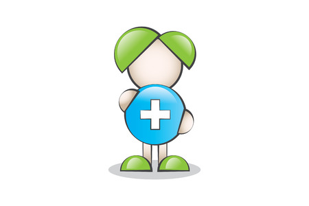 lectern: Health and Symbol Cartoon Character. Healthy lifestyle.