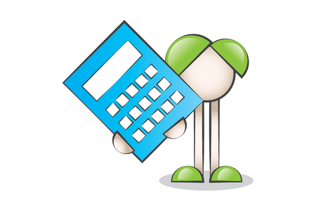 reliance: Big Blue Calculator and Cartoon Characters Illustration