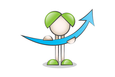 lectern: Up Arrow and Cartoon Characters. Financial Value of Business Graphics