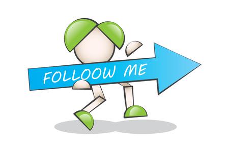 follow me: Follow me. Cartoon character.