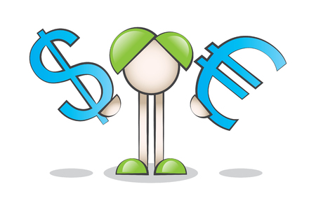 lectern: Cartoon Character Dollars and Euros in the hands of the Big Blue Icon Illustration