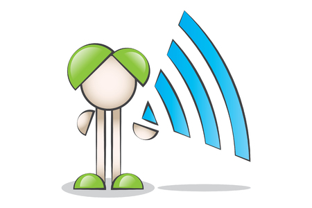 lectern: Wireless symbol (wi-fi) with Cartoon Characters