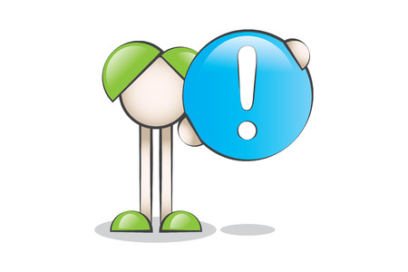 lectern: Attention exclamation mark and Cartoon Characters Illustration