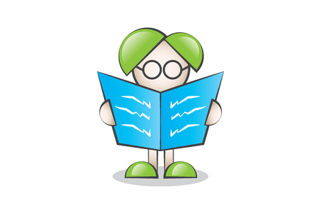 lectern: Read the newspaper with glasses Cartoon Character Illustration