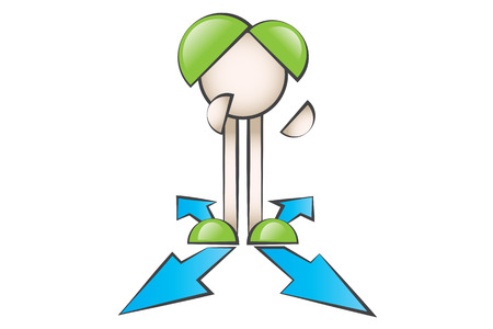 lectern: Cartoon characters standing in different ways.