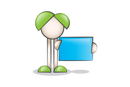 lectern: Blue Message Boards and Cartoon Characters Illustration