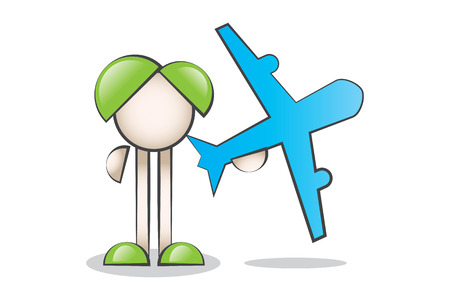 Cartoon Characters and aircraft. Travel and tourism.