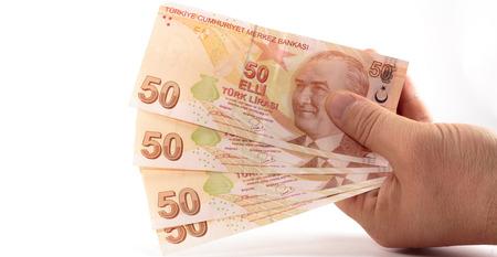 turkish lira: Turkish Lira Banknotes Stock Photo