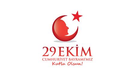 announced: October 29 Republic Day. Ataturk and Flag.